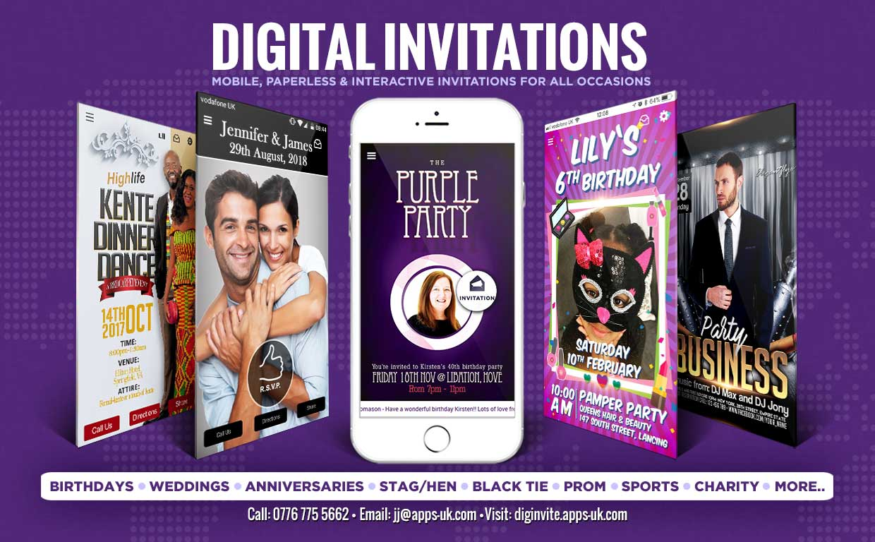 Digital Invitations – Weddings / Stag & Hen / Birthdays / Anniversaries/ Black Tie
