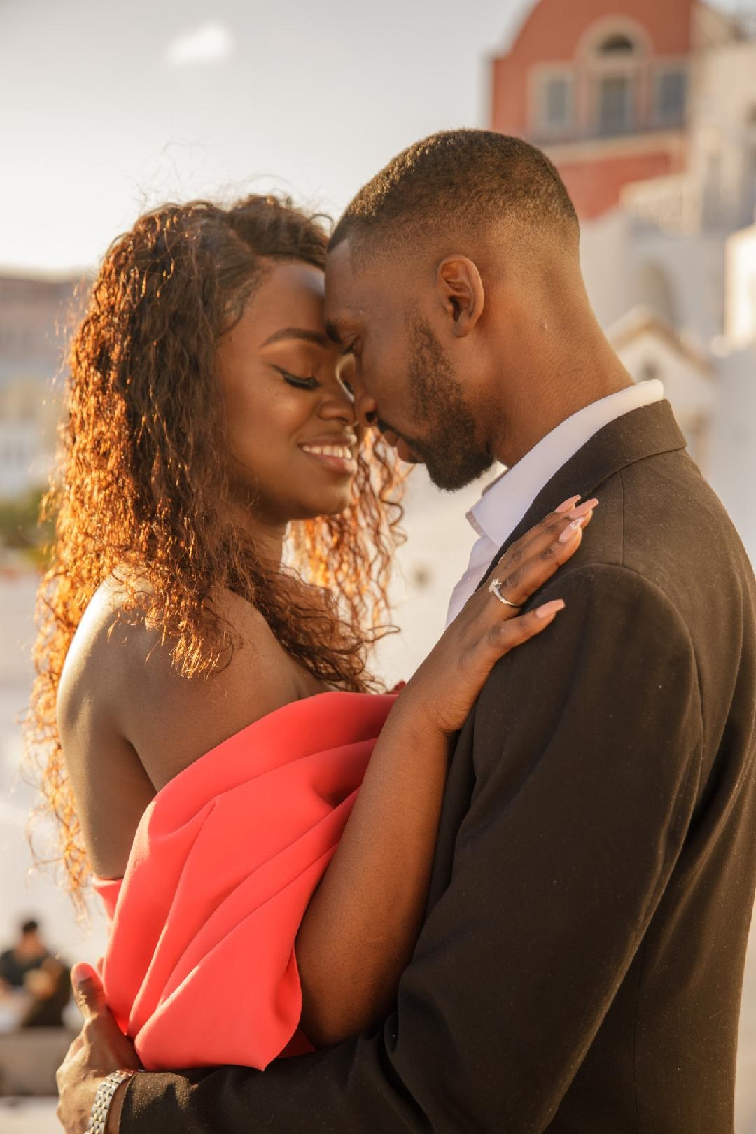Adetumi and Lulu's Destination Proposal in Santori Greece - Black L:ove Couple