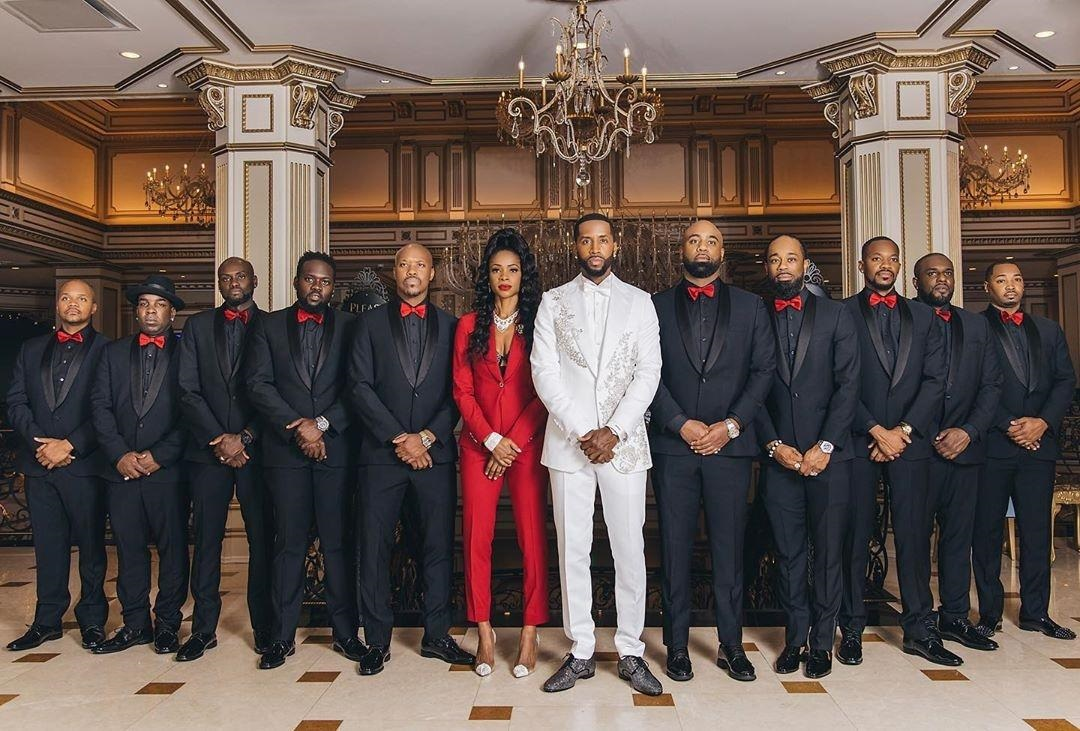 Safaree and Erica Mena's Wedding Shut Down New Jersey Big Time - Safaree Samuels in formation with Groomsmen